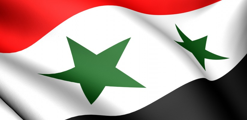 Flag of Syria. Close up. Front view.