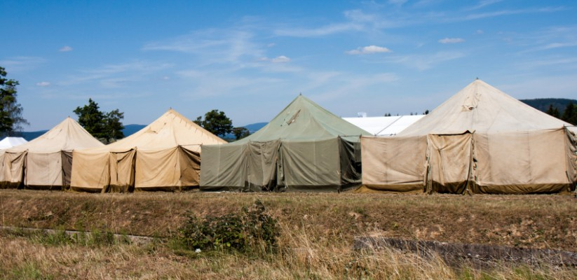 Built on an area of colorful tents, military tent camp